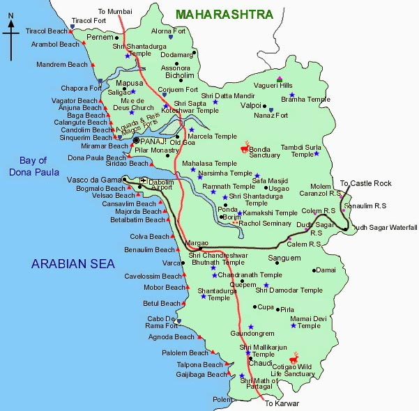 Map of Goa, Goa Map, Directions to be in Goa